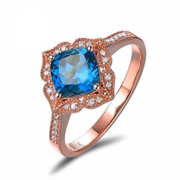 Exquisite Rose Gold Ring with Blue Topaz 1.92ct, Natural Diamond 0.14ct. Engagement Ring