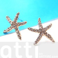 Large Starfish Star Shaped Stud Earrings in Gold with Rhinestones from Dotoly Love
