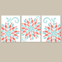 CORAL AQUA Wall Art, Emma Girl Nursery Artwork, Canvas or Prints Bedroom Pictures, Flower Burst Pictures, Dahlia Set of 3 Crib Decor