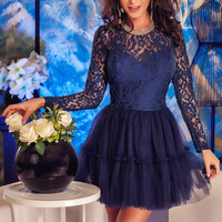 Navy Lace Tulle Babydoll Skater Dress