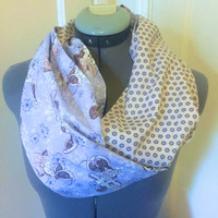 Disney Minnie Mouse, Cream With Lilac and Cream Polka Dots, Fashion Infinity Scarf, Circle Scarf, Gift, Present