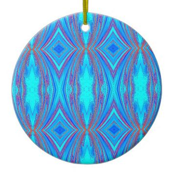Light Blue Turquoise Diamonds Pattern Ceramic Ornament
