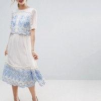 ASOS PREMIUM Double Layer Midi Embroidered Dress at asos.com