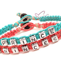 Prince Princess Bracelets, Couples bracelets, Couples Gift, Turquoise, Coral, Eco friendly Hemp, FREE US SHIPPING