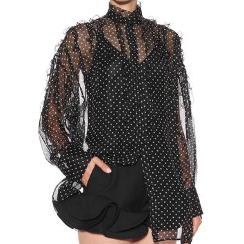 Polka-dot silk shirt
