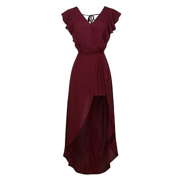 Open Back Ruffled Wrapped V Neck Sleeveless Maxi Romper Dress