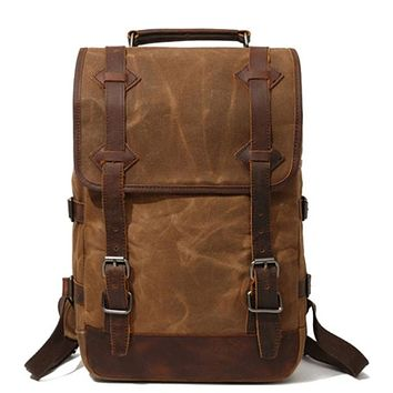 Waxed Canvas Rucksack With Leather Trim