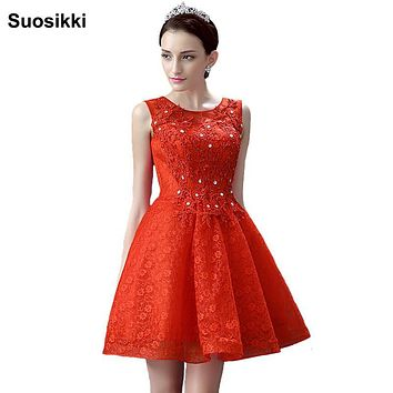 SuosikNew Elegant Red Lace A-Line Prom Dresses Lace up Sparkly Beadintg Dress Short Party Prom Dresses Vestidos De Noche 2016