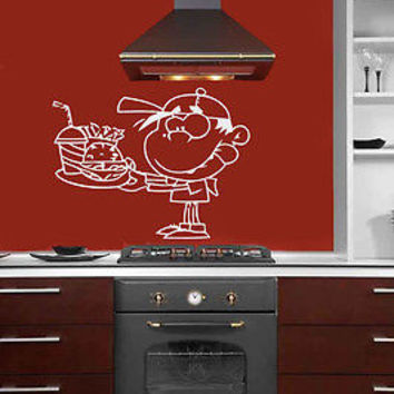 WALL VINYL STICKER DECAL ART MURAL LITTLE BOY KID WITH FAST FOOD KITCHEN T301