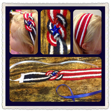4th of July Patriotic braided Headband - Red, White & Blue w/ Buttons and Ribbon tie back