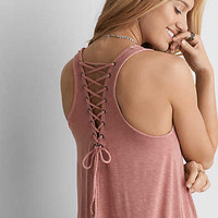 AEO Lace-Up Racerback Shift Dress , Berry