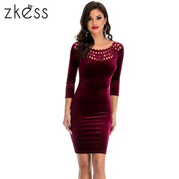 Zkess Sexy O Neck Wine Red Sheath Velvet Dress Women Spring Party Three Quarter Sleeve Elegant Pencil Bodycon Ladies Dress 22925