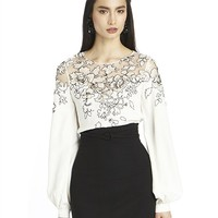 LONG SLEEVE SILK LACE EMBROIDERED BLOUSE
