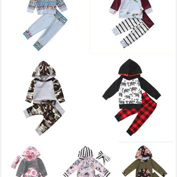 2pcs Newborn Baby Girls Long Sleeve Hooded Sweatshirt Tops+Pants Outfits Floral Set