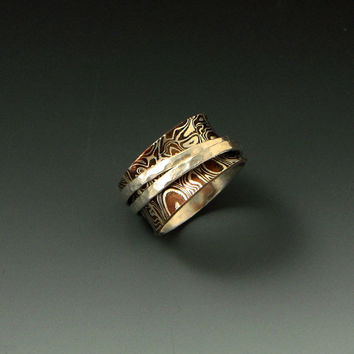 Mokume Gane Spinner Worry Ring, copper, silver, handcrafted artisan jewelry by jewelrybyfrancine on etsy