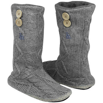 Women's For Bare Feet Gray Los Angeles Dodgers Two-Button Cable Knit Boots