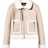 Shearling Nude Leather Jacket