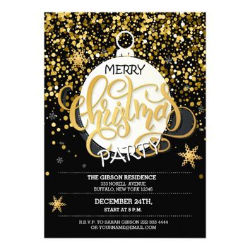 Christmas Party Gold Sparkle Dots Invitations