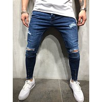PADEGAO Brand High Quality 2019 New Men's Wear Simple Fashion Recreational Flanging Zipper Decoration Large Hole Jeans