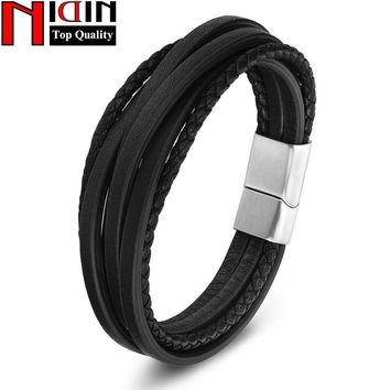 NIDIN 2017 men Jewelry Brown Genuine Leather Bracelets & Bangles Mens Bracelets Stainless Steel Braid Leather Bracelet for women