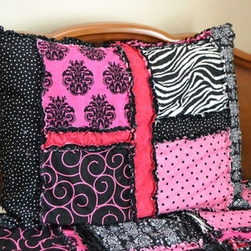 Pillow Sham, Hot Pink and Black, Standard Size, Made to Order
