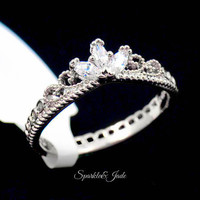 White Gold Plated CZ Dainty Crown Ring - Silver