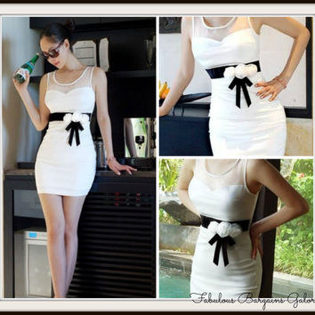 Ladies White Rose Dress