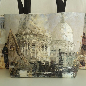 Tote bags, painting copy printed Sacré-coeur of Paris, beach bag, canvas bag,  handmade casual chic handbags,