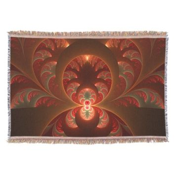 Luminous abstract modern orange red Fractal Throw