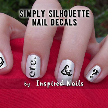 Typography Nail Decals Black and Clear Simply by InspiredNails