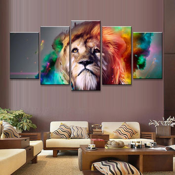 5 Pcs/Set Abstract Colorful Lion Head Print On Canvas Painting Creative Artistic Animal Wall Art Painting For Bedroom picture