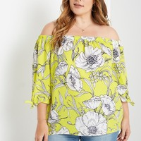 Yellow Floral Off the Shoulder Top Plus Size