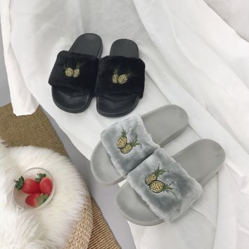 Cute Pineapple Embroidery Fur Slipper Shoes