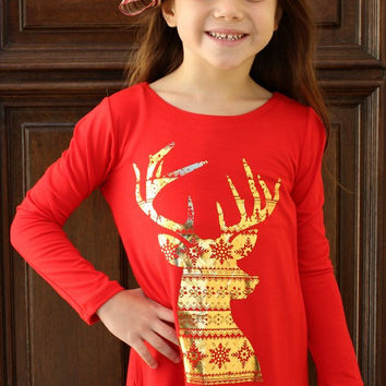 Kids Run, Run Rudolph Piko Top with Gold Foiled Christmas Patterned Deer in Red