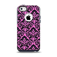 The Pink & Black Delicate Pattern Apple iPhone 5c Otterbox Commuter Case Skin Set