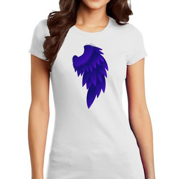 Single Right Dark Angel Wing Design - Couples Juniors T-Shirt