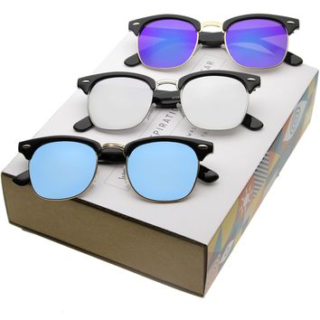 Retro Horned Rimmed Mirrored Flat Lens Half Frame Sunglasses A857 [Promo Box]