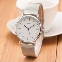 Silver Case Toned Alloy Strap Woman Dress Fashion Evening Girl Watch