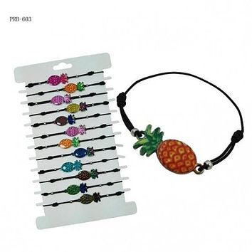 Pineapple Pendant with Wax Cord Bracelet, Assorted Colors