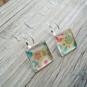 Bright Multi Colored Flowers, Earrings, Silver pierced tile type