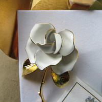 Vintage Cerrito Signed Rose Brooch Stamped And Original Partial Packaging