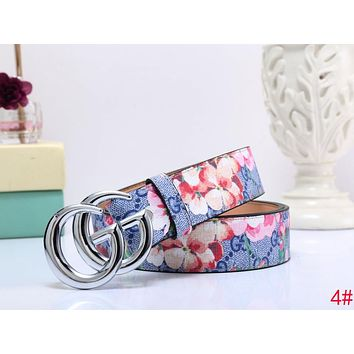 "Hot Sale ""GUCCI"" Popular Woman Men Smooth Buckle Flower Print Belt Leather Belt 4# I-MYJSY-BB"