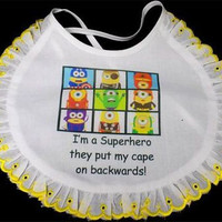 Minion Super Hero Baby White Unisex Bib Lacy Lace Girl Newborn Gift BAB-0014