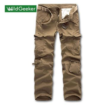 Wildgeeker Men's Pants Casual Full Length Male Cargo Pants Airborne Plus Size Trouser Multi Pocket Army Camouflage Men's Pants