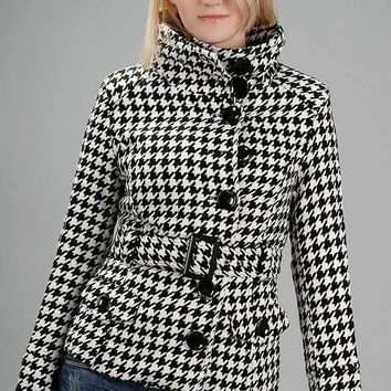 Funnel Neck Houndstooth Coat
