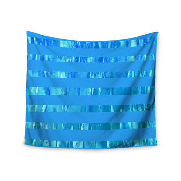 "Rosie Brown ""Wet Wild Stripes"" Aqua Blue Wall Tapestry"
