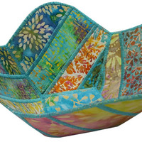 Reversible Fabric Bowl in Multicolored Batik Fabrics