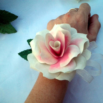 Single Custom Paper Flower Wrist Corsage, or Pin Corsage