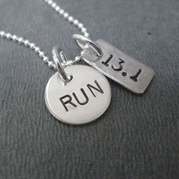 RUN DISTANCE Mixed Metals Necklace - 18 inch Sterling Silver Chain - Sterling Silver Round RUN Charm Plus Choose your Nickel Silver Distance