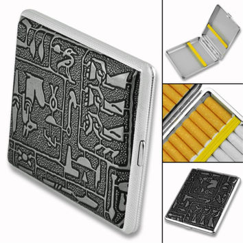 Hold 18PCS Silver Cigarette Box Case Metal Holder Egyptian Pattern Vintage Egyptian Style Metal Cigarette Case Box